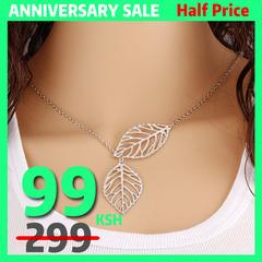 New fashion jewelry 2 leaf necklace woman jewelry necklace gold silver popular necklaces silver one size