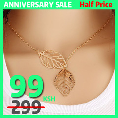 New fashion jewelry 2 leaf necklace woman jewelry necklace gold silver popular necklaces gold one size