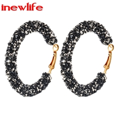 2019 New arrival Fashion Bling Bling Hoop Earrings Women Shiny Crystal Round Circle Ear Jewelry Gift black GDP05-01 as picture