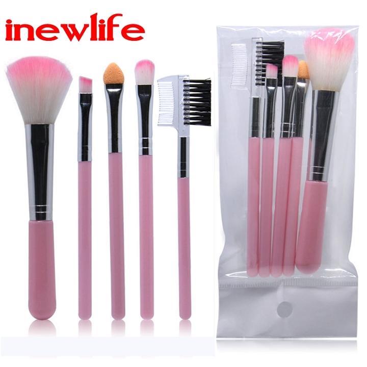 5pcs/set Professional Women Makeup Brushes Powder Eyeshadow Eyelash Cheek Color Brush Cosmetic Tool pink 5pcs