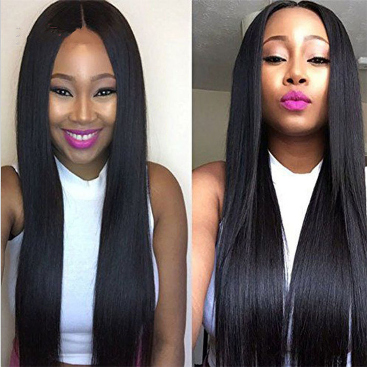 Long Straight Natural Black Wig Matt High Temperature Fiber Hair for Black Woman light brown one size