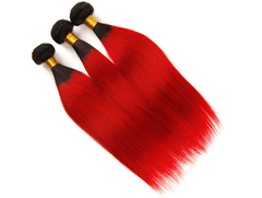 Ombre Red Human Wigs for Women∣Straight Hair Pieces∣12 inch Hair Weft T1B Red 10