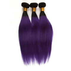 Human Hair Wigs for Women of Color∣One Bun Hair Pieces∣T1B Purple T1B Purple 10