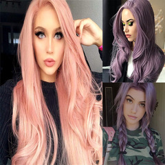 Long Purple Synthetic Wig Can Not Be Dyed or Rolled High Temperature Fiber Hair For Any Shape Face Pink 25inch