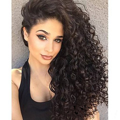 21 Inch Small Curly Wave Fluffy Hair Matt High Temperture Fiber Wigs for Elegant Lady black 1b one size