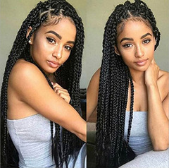 Girl Best Love Gift 26Inch Africa Dreadlocks Lace Wig Chemical Fiber Hair for Girlfriend and Friend black 1b 26