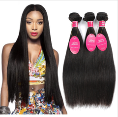 Peruvian Straight Wave Human Hair Bundles Virgin Hair Natural Black Weaves natural black color 10