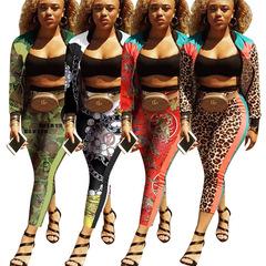 Pesber Fashion Color Clash Zipper Letter Printing Sports Suit Two-Set Pieces  for Female White S