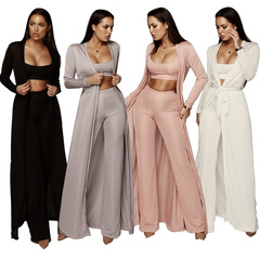 Pesber Fashion High Quality Elastic Material Tops With Long Cardigans 3 Sets Stretch Kit  for Lady white s