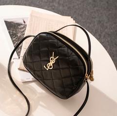Pesber Fashion Small Black Handbag for Young Girl Pure Slide Shoulder Bag for Dating Black 17*7*14cm