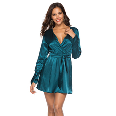 HGLD Europe and America sexy deep V-neck trumpet sleeve satin dress solid color Blue S