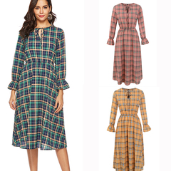 HGLD New chiffon plaid print long sleeve dress Bow tie A word dress V neck dress s 01