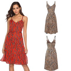 New sexy zebra pattern suHGLD spender dress chiffon dress backless dress high waist dress s red