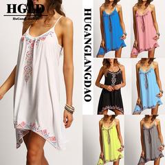 HGLDWomen's European and American fashion slim printed loose dress strap dress skirt s black