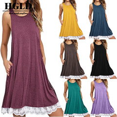 HGLD Fashion casual dress sleeveless loose pocket lace hem lace dress s 01