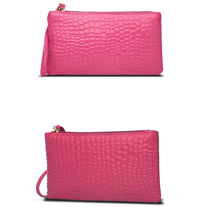 HGLD Women bag crocodile wallet women clutch Bag single bag bags pink 19cm*11cm