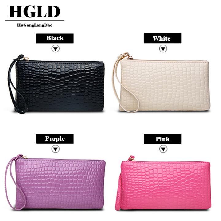 HGLD Women bag crocodile wallet women clutch Bag single bag bags Black 19cm*11cm