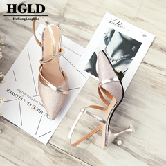 HGLD sexy fish mouth hollow Women sandals  Heel with beaded high heels female summer Sexy sandals Rose Gold 34