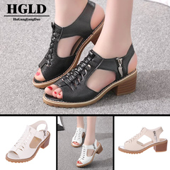 HGLD Women sandals women shoes summer autumn new high heels quality fashion sexy black 35