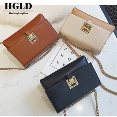 HGLD Small square bag new female bag color matching simple fashion Messenger bag chain shoulder bag black 20*14*8