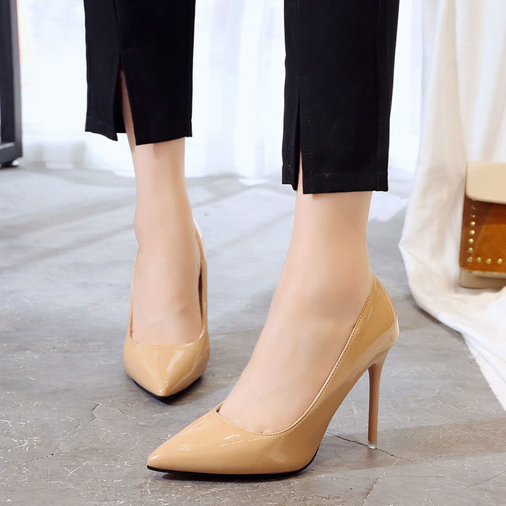 HGLD Women high heels summer party dinner work quality fashion sexy stiletto woman shoes yellow 40