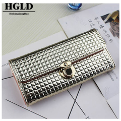 HGLD Female hand holding wallet, long fashion, large capacity card, wallet, wallet Wine red 18*9*2.5(cm)