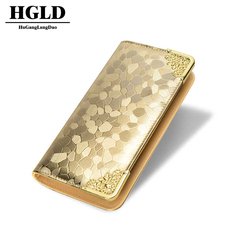 HGLD Wallet female long section ladies wallet soft face clutch bag women handbag wallet wallet Gold 21*11*3