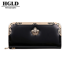 HGLD New women's wallet mobile phone wallet female long section short ladies wallet zipper clutch black 21*10*3