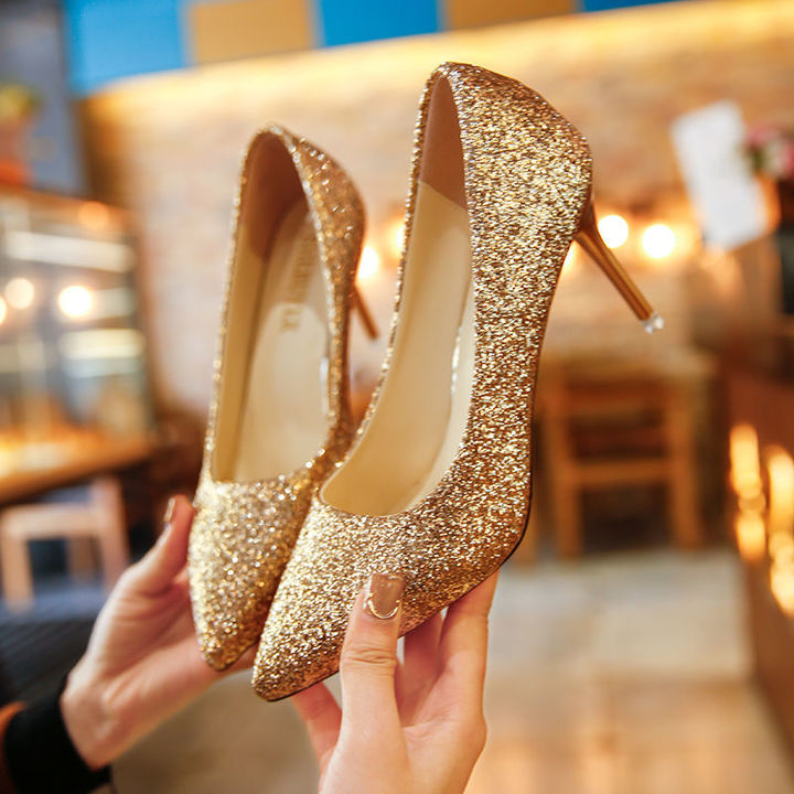 HGLD Women high heels summer sexy fashion party dinner work quality stiletto activity woman shoes gold 40