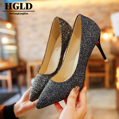 HGLD Women high heels summer sexy fashion party dinner work quality stiletto activity woman shoes black 35