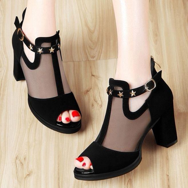 HGLD Women high heels summer autumn open toe mesh sexy fashion boots sandals woman shoes black 35