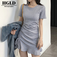 HGLD The new skirt French  dresses French fashion dresses solid color dresses Hip twill dresses s grey