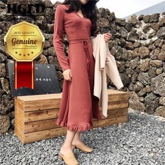 HGLD Women dresses sleek minimalist style dress solid color long-sleeved long skirt women clothing s red