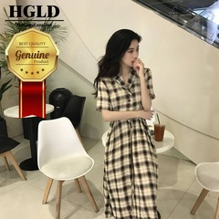 HGLD new women clothing ancient French plaid dress loose knee-length woman dresses s lattice