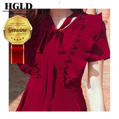HGLD Bow tie Dresses with wooden ear dress new slim short sleeve A-line dresses s wine red