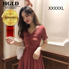 HGLD Women dresses v-neck slim folds long short-sleeved slim Dress solid color dresses s red