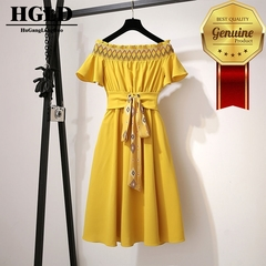 HGLD dress woman color storage sexy shoulder Dress lace large swing dress new slim dresses s yellow