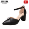 women shoes pointed high-heeled shoes thick with wild hollow word buckle with sandals women shoes black 40