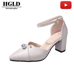 women shoes pointed high-heeled shoes thick with wild hollow word buckle with sandals women shoes gray 40