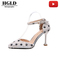 New pointed shallow mouth wild French wave point single shoes word buckle hollow high heel stiletto rice white 40