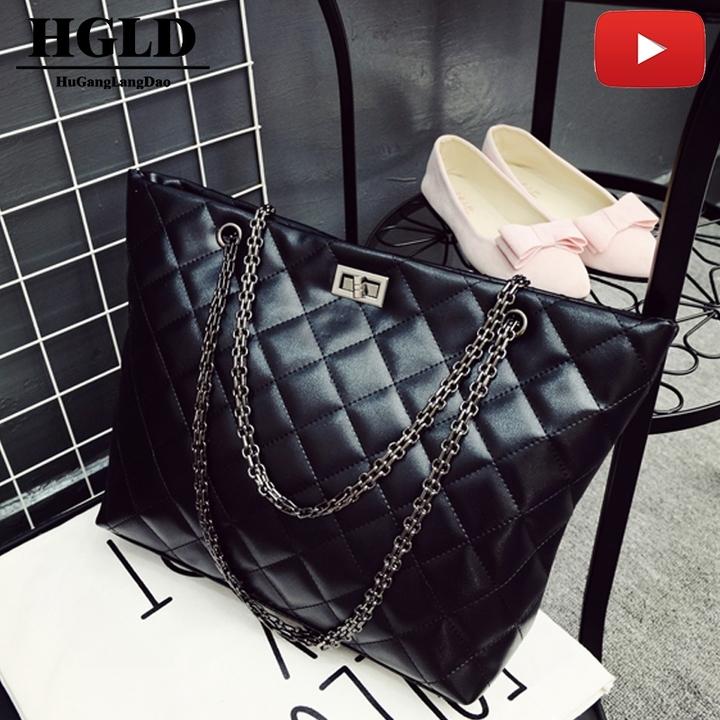 HGLD new woman tide female big bag Lingge embroidery thread handbags handbag shoulder Messenger bag black 40*30*10*27