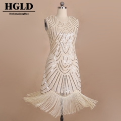woman for dresses High-end handmade Dress dresses Fringed glitter dress evening Dress Glitter dress champagne One size