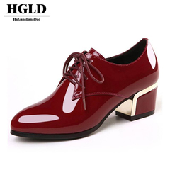 HGLD woman for shoes Ladies leather shoes Women's business shoes Work shoes with thick heels red 35