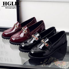 HGLD women shoes British wind small shoes flat shoes Baita retro college wind women shoes wine red 35