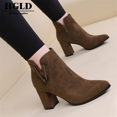 HGLD women ankle boots women high heels women thick with velvet pointed fashion boots women shoes Khaki(7cm) 40