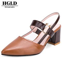 HGLD women shoes ladies pointed high heels fashion wild temperament women shoes high heel sandals Brown 35