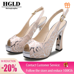 HGLD Women high heels, fingerless fish shoes, sexy platform shoes, women shoes pink 35