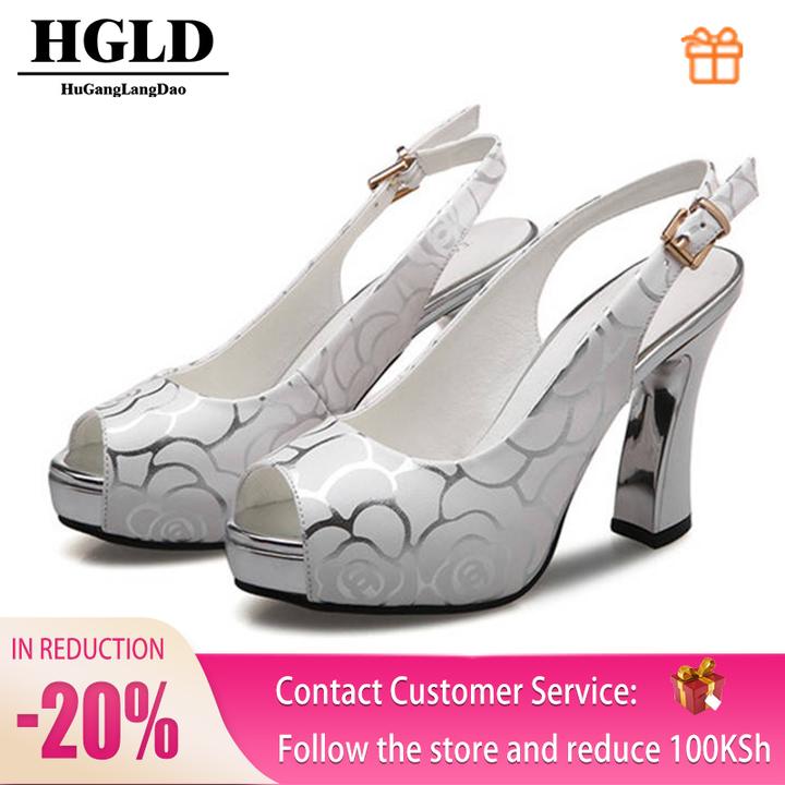 HGLD Women high heels, fingerless fish shoes, sexy platform shoes, women shoes white 39