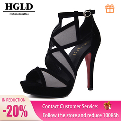 HGLD Women high heels summer fall autumn Sexy fashion quality boost personality Open toe woman shoes GRAY 36