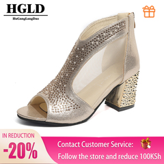 HGLD Women high heels summer fall autumn Sexy fashion quality boost personality Open toe woman shoes gold 35